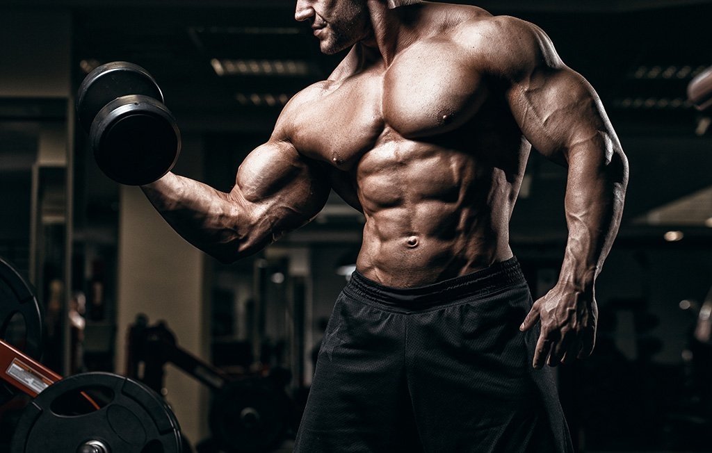 muscle athlete man doing dumbbell curl
